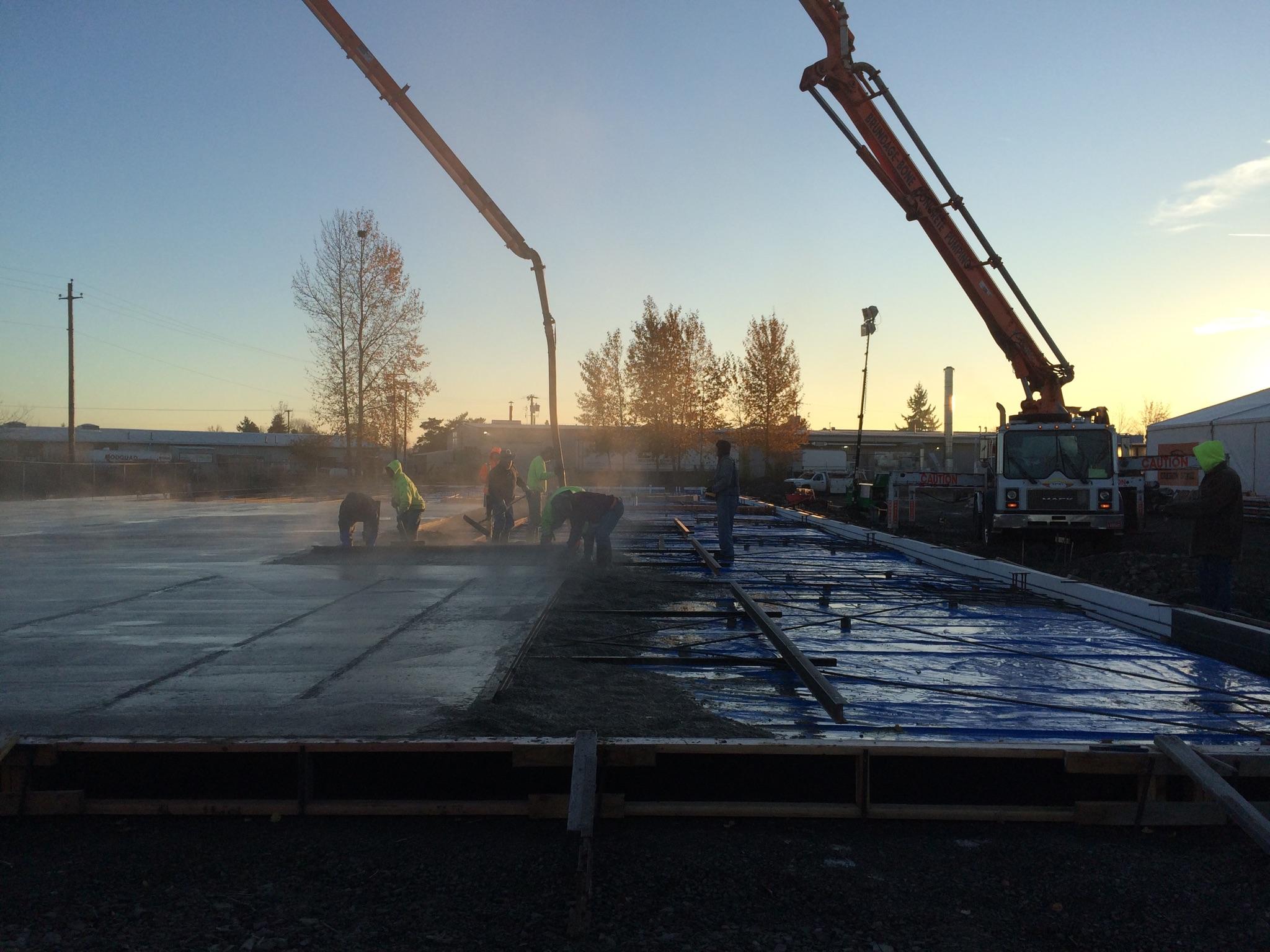 Pouring concrete.
