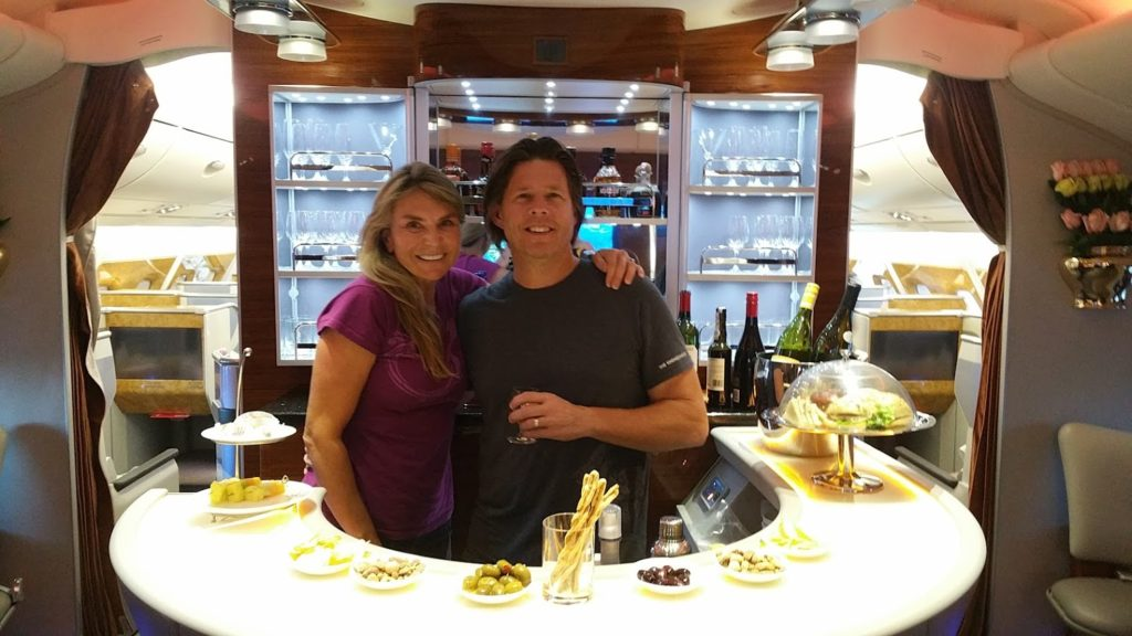 Rob and Masha at the First Class Emirates in Flight Bar.