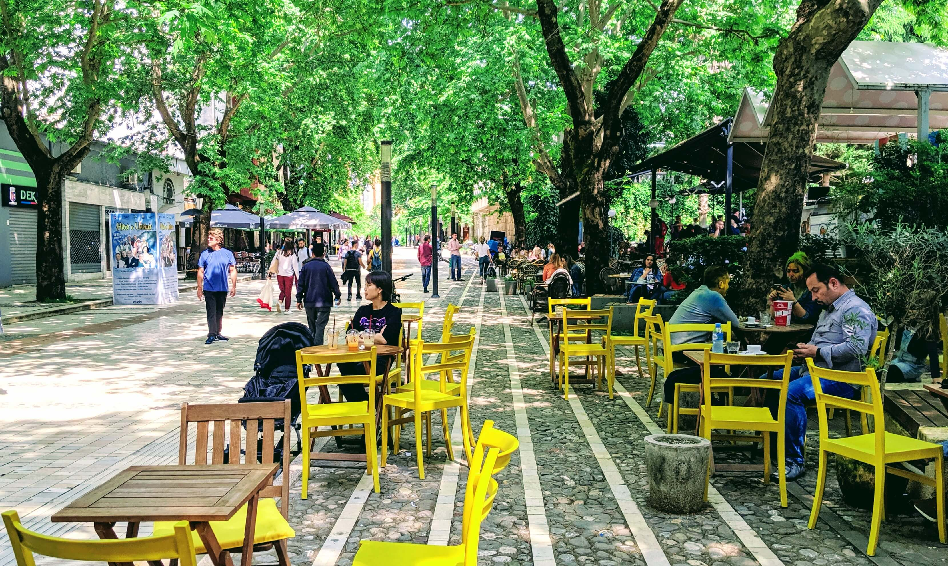 Toptani Street lined with cafes, shops and art galleries.