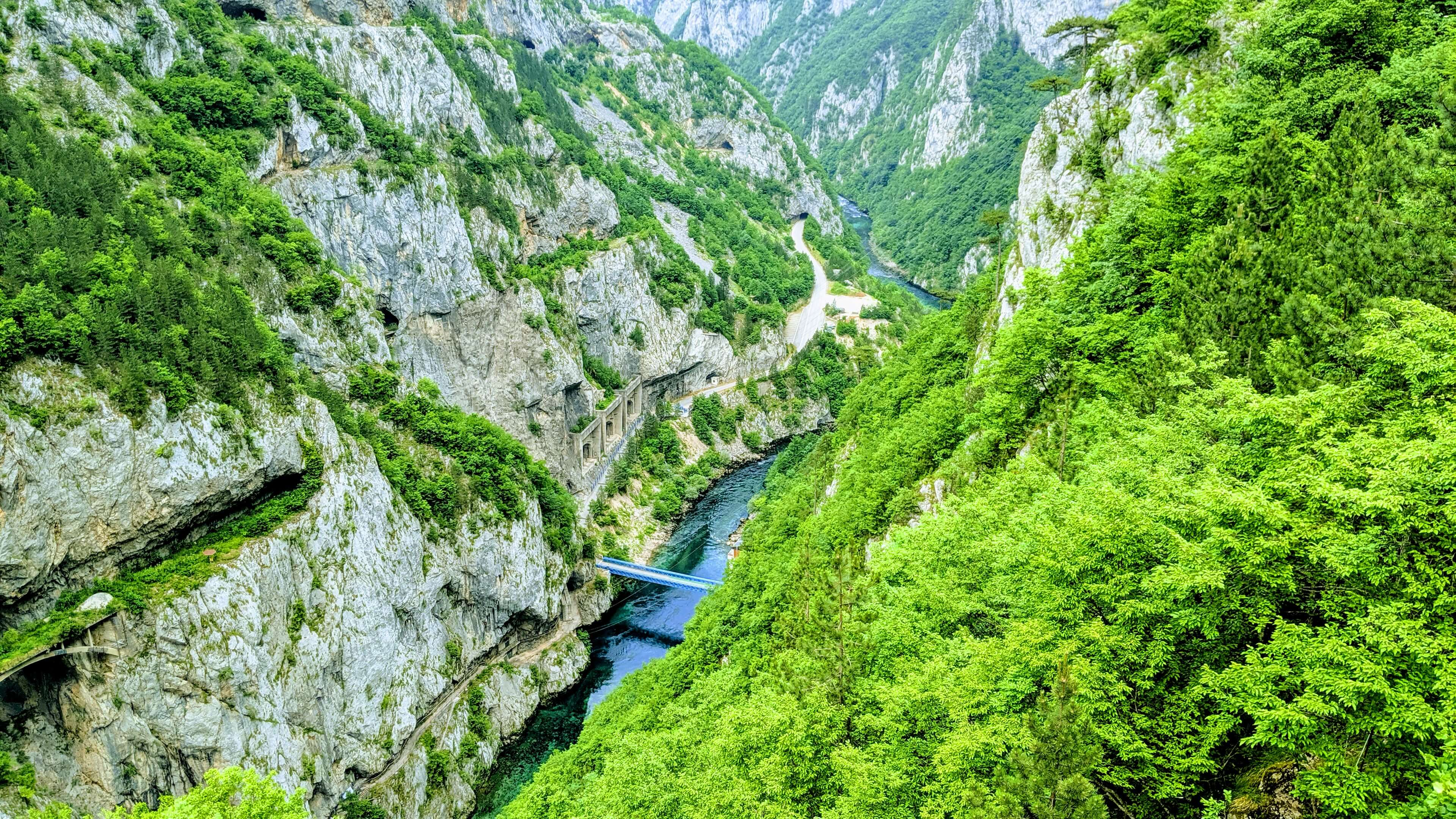 The winding river of Tara Canyon on the northern tip of Durmitor national park