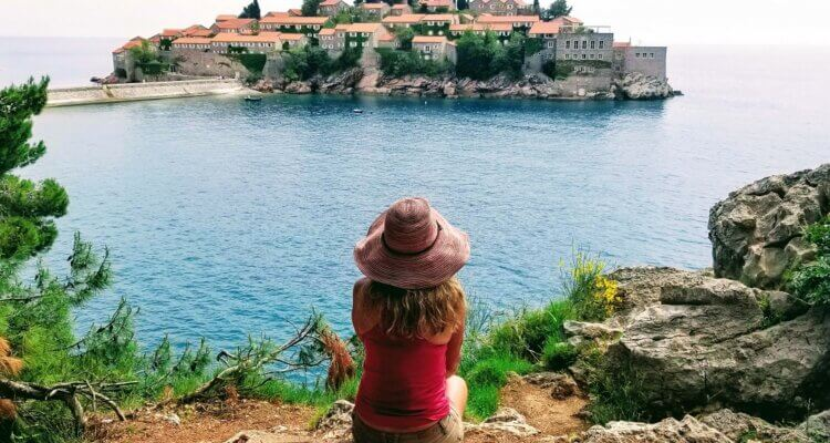 Masha overlooking Sveti Stefan