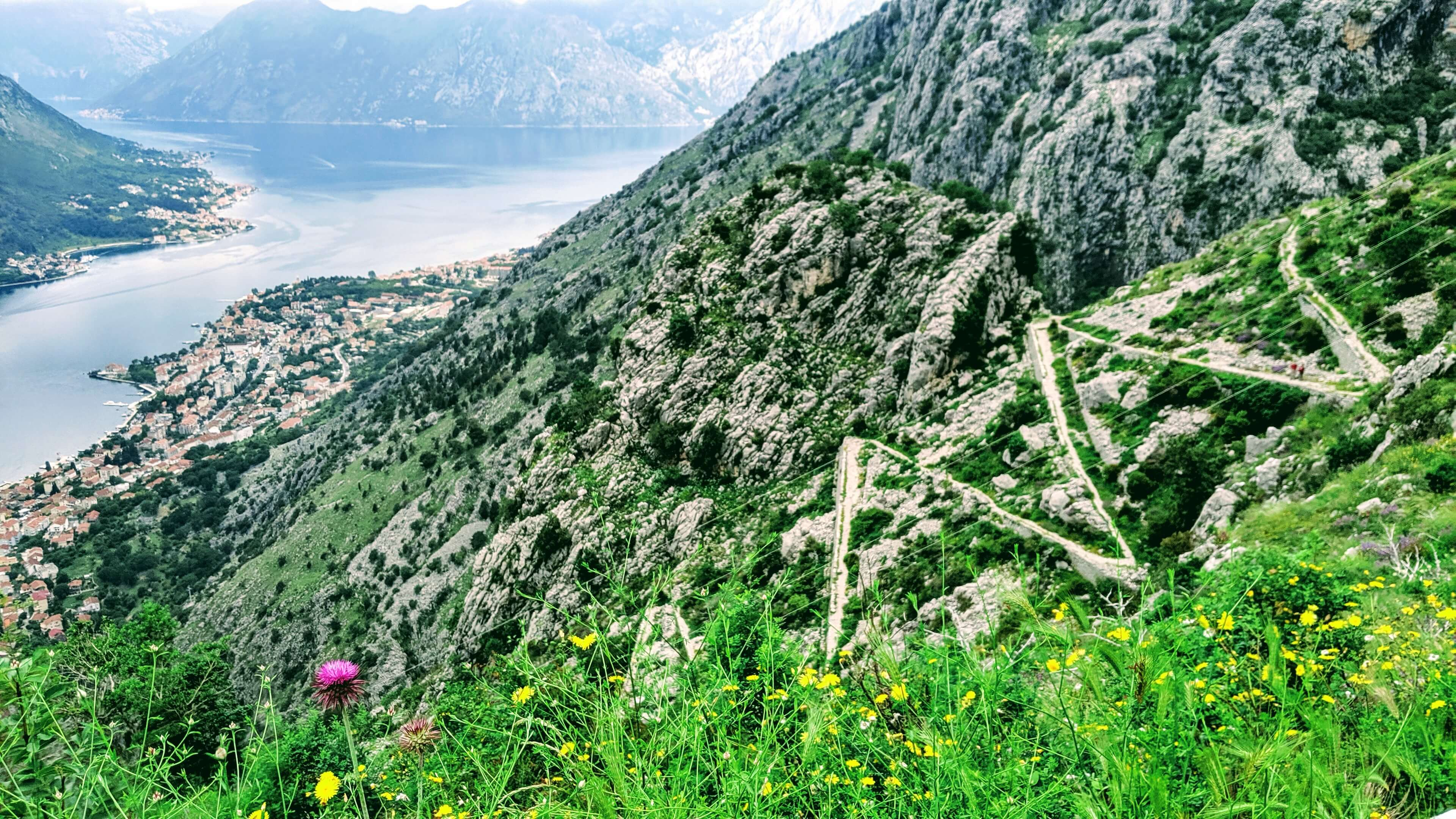 Switchback overlooking the Bay of Kotor.