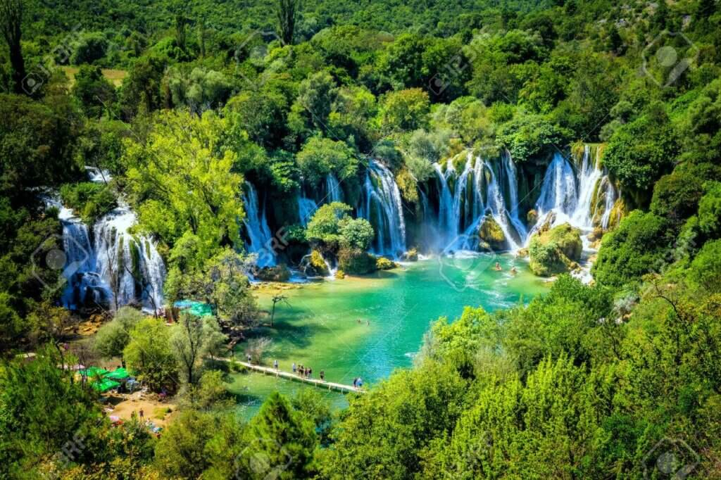 Verdant Kravice Waterfalls from above.  A must visit place in Bosnia and Herzegovina.