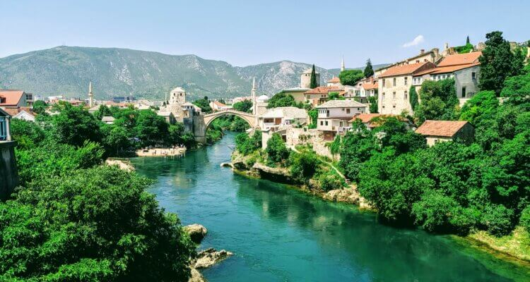 The Old Bridge in Mostar (the top thing to see) down on the turquoise river.