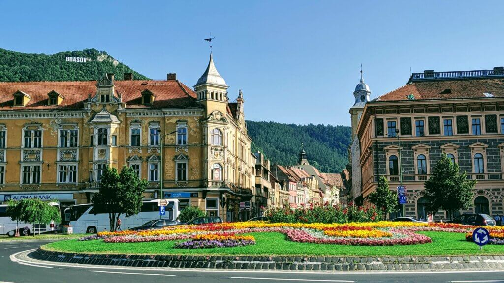 Brasov old town with the Brasov sign in the background