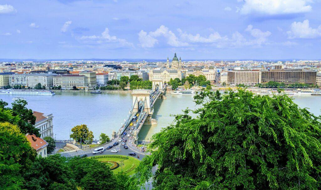 Chain bridge as seen from Buda Castle.