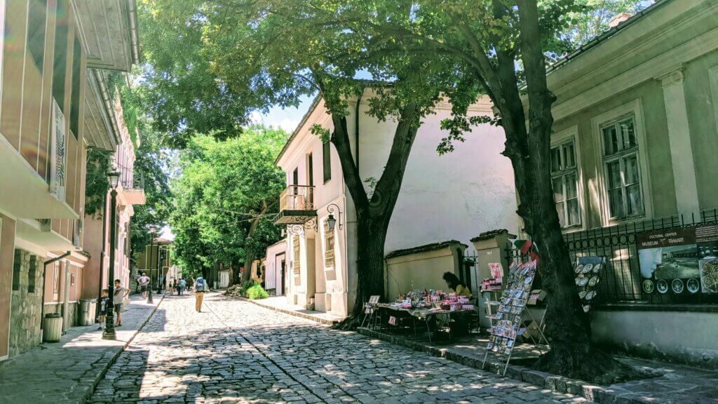 Large cobblestone streets lined with trees