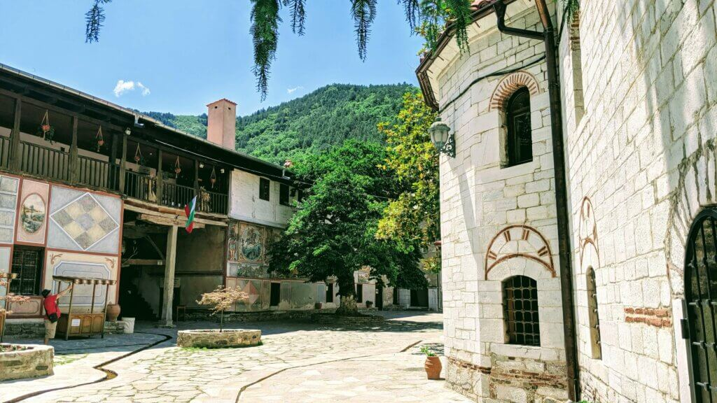 Bachkovo Monastery with Rhodope Mountains in the Background