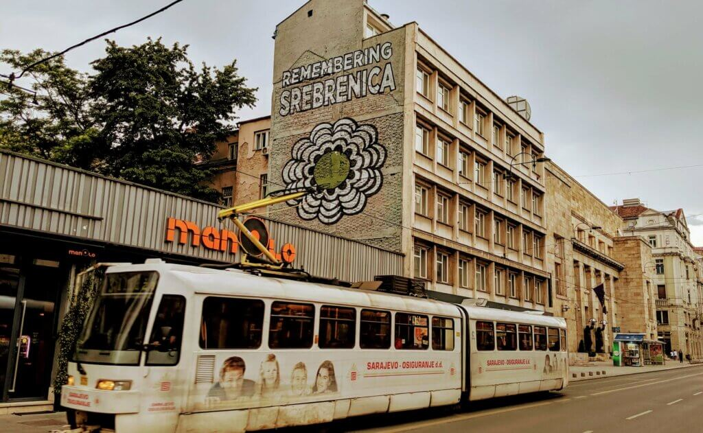 Remembering Srebrenica Sign in Sarajevo