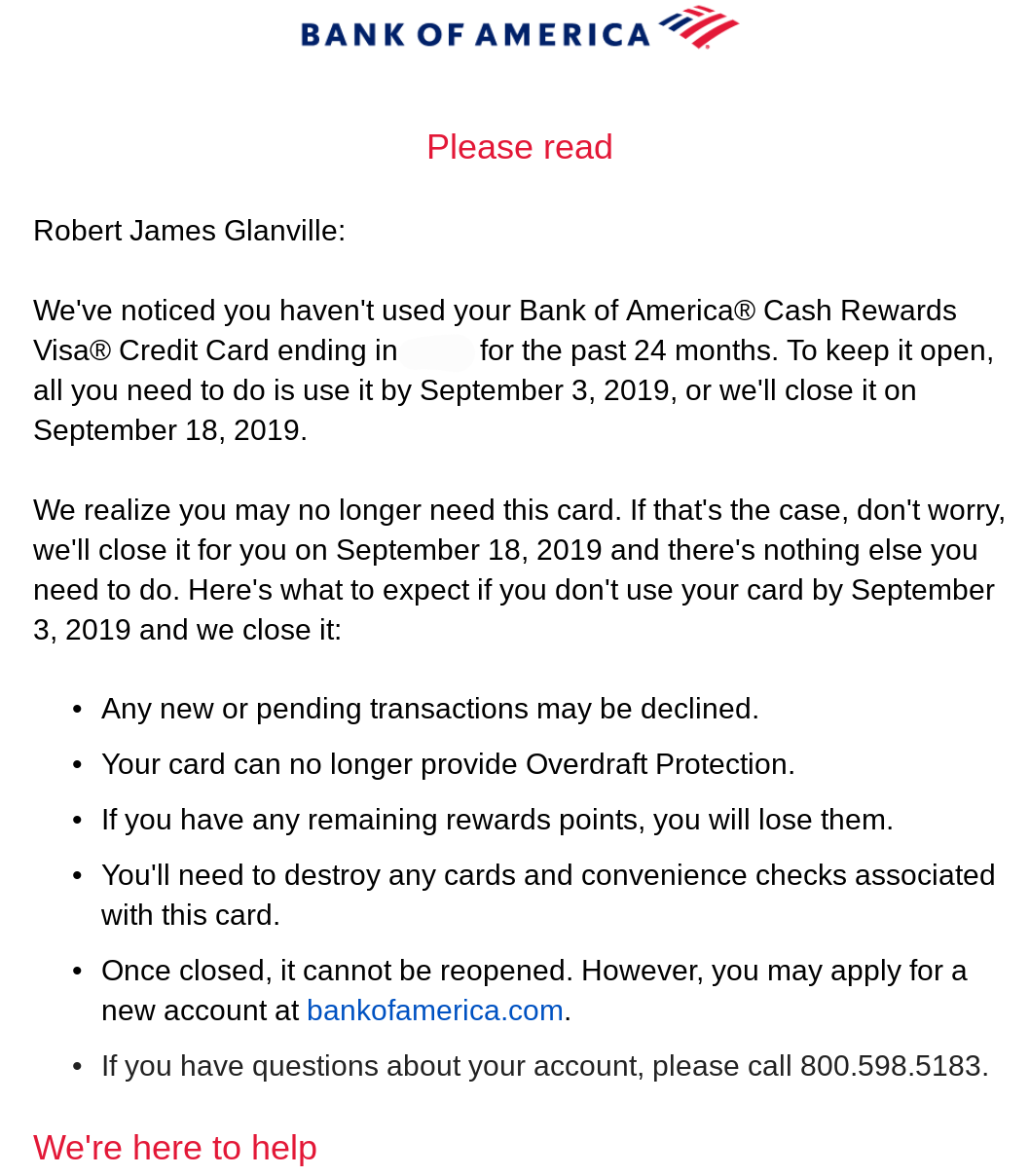 Bank of America Letter