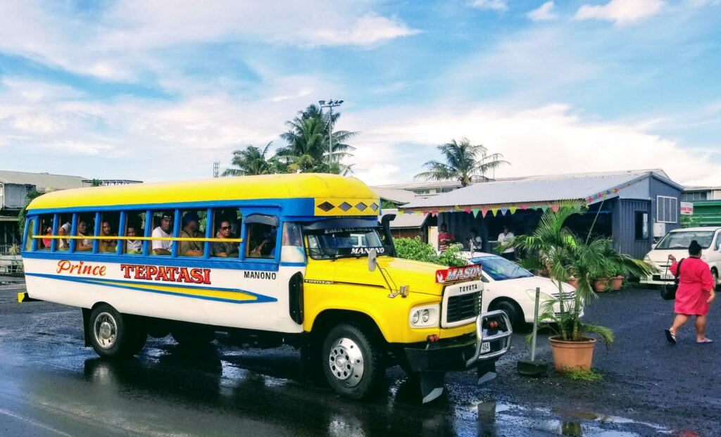 Buses on Samoa can take you to many adventures in Samoa
