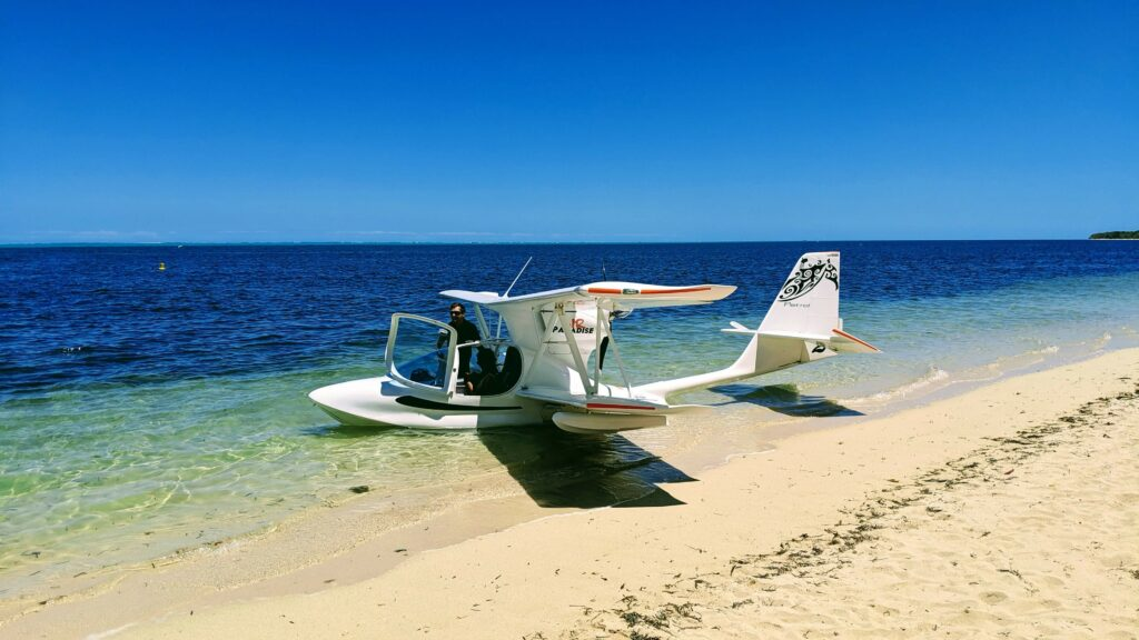 Plane over Lagoon and Reef of New Caledonia