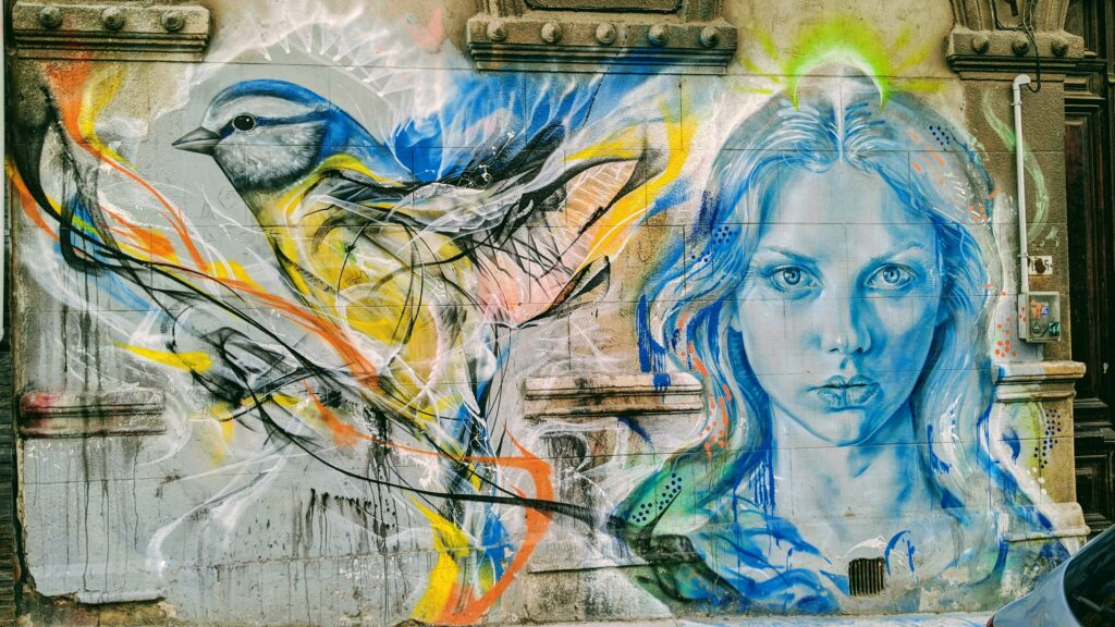 The Girl and the Bird Street Art Montevideo
