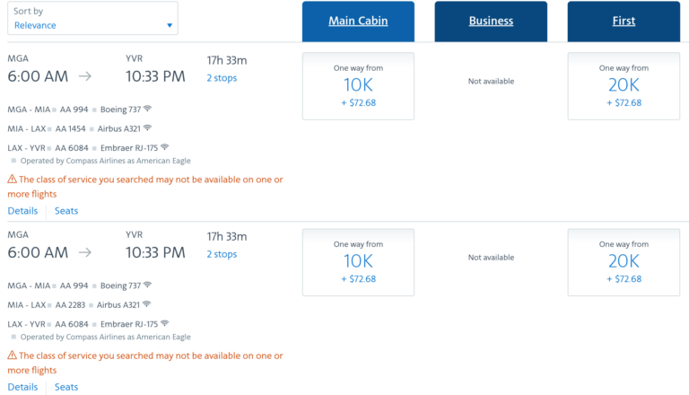 AA's MGA-YRV Availability - Using AAdvantage Miles To Get Home Due To Covid-19
