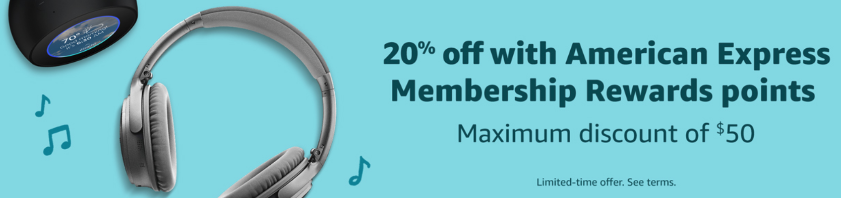save 20% at Amazon by using American Express Membership Rewards Points.