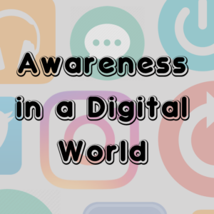 """digital icons with title """"awareness in a digital world"""""""