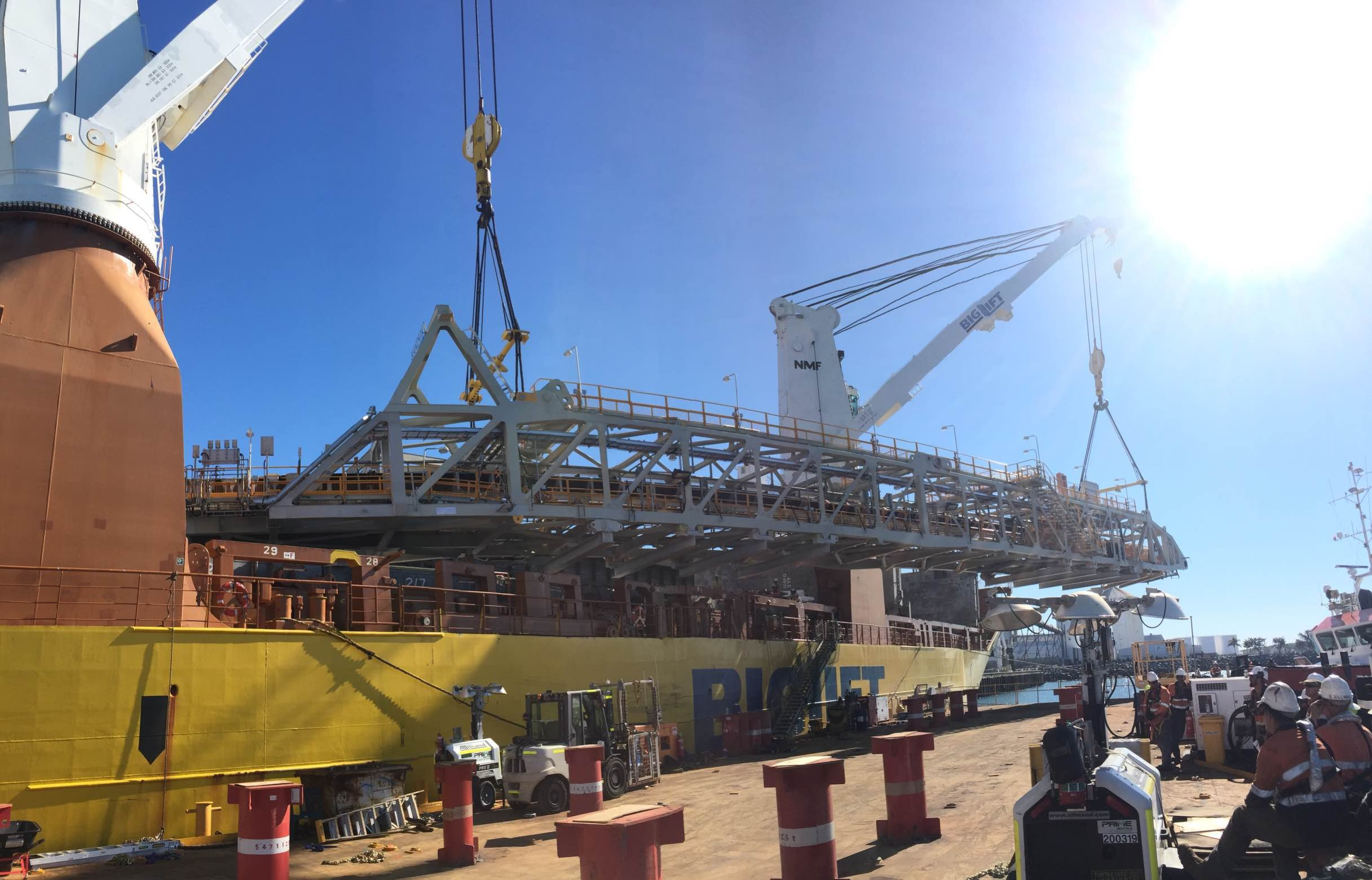 First Stacker reclaimer Module arriving in Hay Point Coal Terminal 3