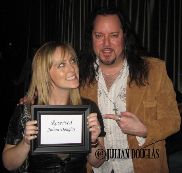 My wife Nicole, holding up the sign they had for my private bungalow for Rick Springfield's show at Club Nokia. December 2010.