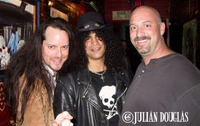 """Partying backstage with Guns 'N Roses Slash, along with my long time friend, Jorden """"The """"Junkman"""" of KNAC.com, at the House Of Blues - Sunset Strip. April 2003."""