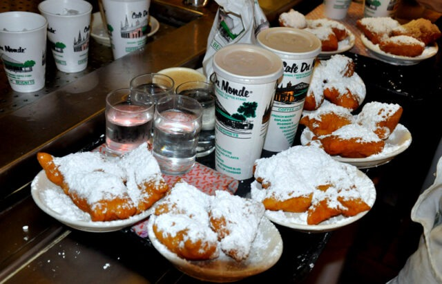Just another tray coming out of the Cafe Du Monde kitchen heading to hungry guests (photo courtesy of NewOrleans.com).
