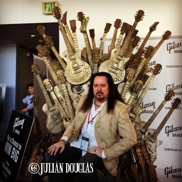 "Sitting on Gibson's ""Throne Of Guitars"", January 23rd, 2015."