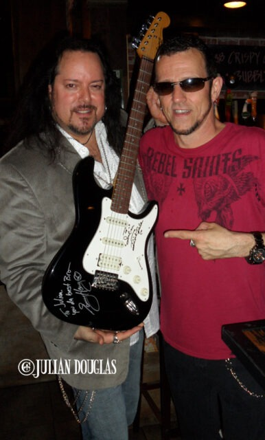 My Jager Brother of ages... guitar legend, Gary Hoey. Signing my Dick Dale guitar June 2013.