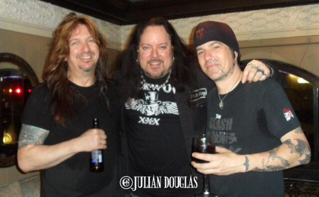 "Long time Jager bro's, Skid Row's Dave ""Snake"" Sabo & Rachel Bolan, May 2014."