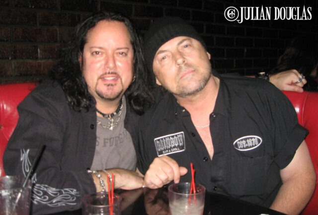 Having drinks at Saint Rocke while watching George Lynch's show, August 2009.