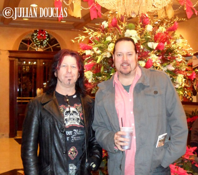 Bo and I in the lobby of the Royal Sonesta, Bloody Mary in hand, ready to walk into Irvin Mayfield's.