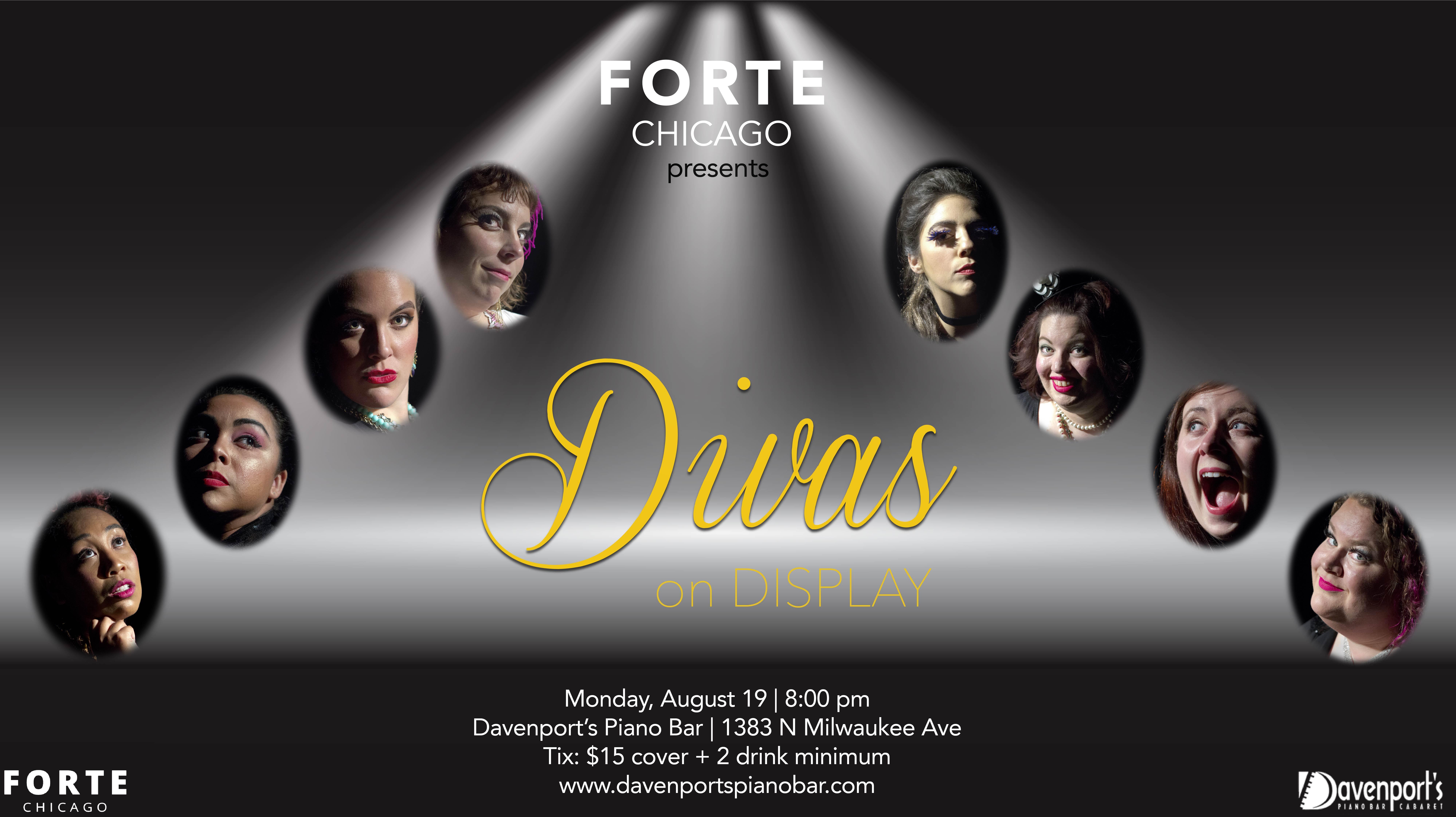 divas on display forte chicago portraits stage lights davenport's piano cabaret