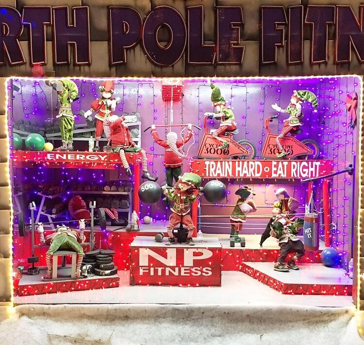 Animated Christmas Display North Pole Fitness