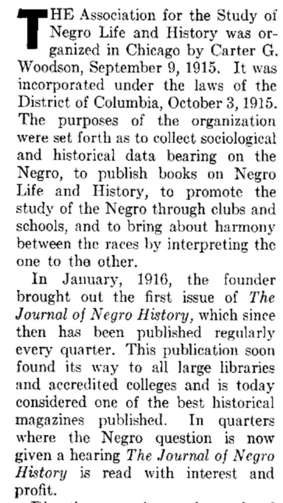 Publishing Record in ASNLH History 1938