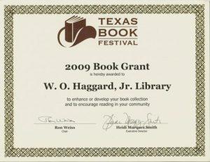 TBF Grant Award Certificate 2009