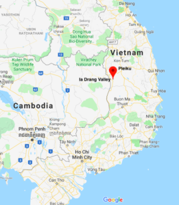Map of Vietnam showing location of Ia Drang Valley.
