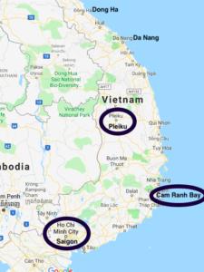 Map of Vietnam showing Pleiku, Cam Ranh Bay, and Saigon