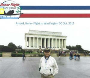 Arnold in front of the Lincoln Memorial in 2015 as part of an Honor Flight for veterans