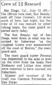 Newspaper article describing sinking of the Sun Beauty