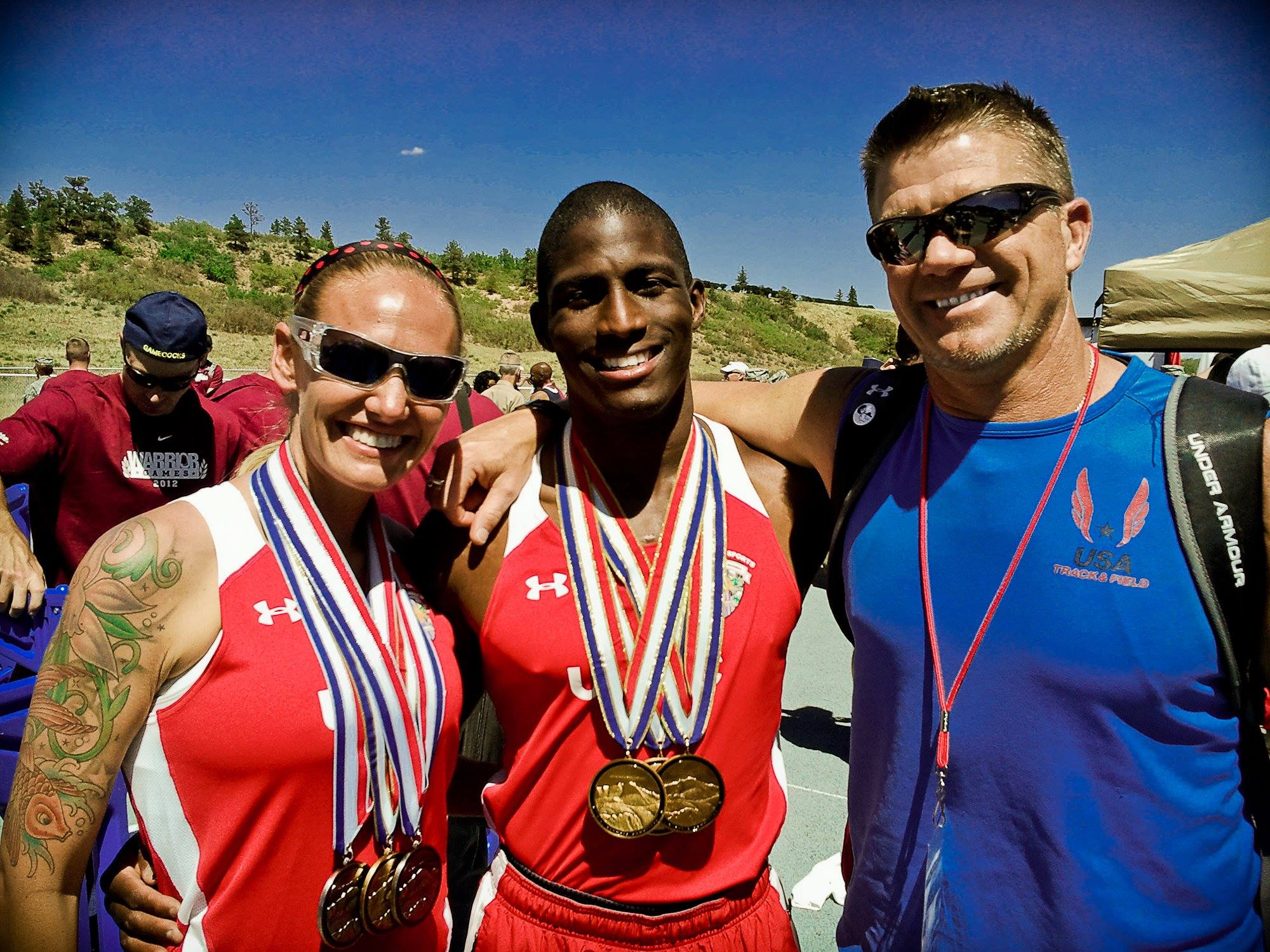 Daniel Smith with Marine athletes at the 2012 Warrior Games
