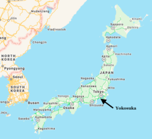 Map showing Yokosuka, Japan