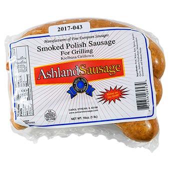 Ashland Sausage Smoked Polish Grill Sausage Vacuum Packed