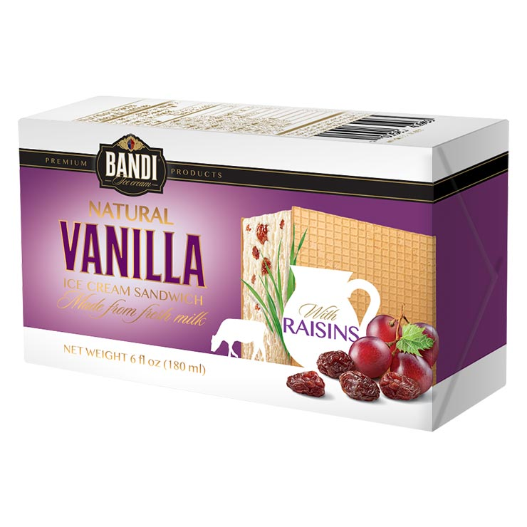 Bandi Vanilla Ice Cream Sandwich with Raisins