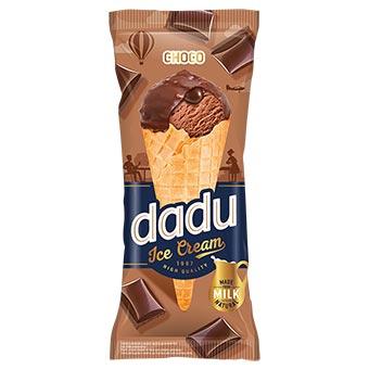 Dadu Chocolate Ice Cream with Hazelnut Glazing and Chopped Almonds in Waffle Cone 150ml