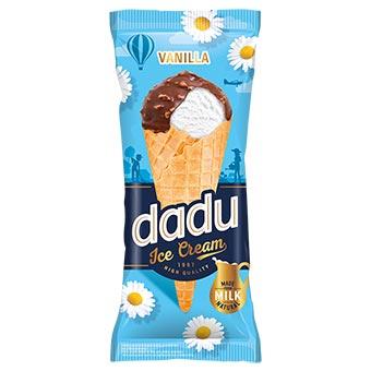 Dadu Vanilla Ice Cream with Milk Chocolate Glazing and Chopped Almonds In Waffle Cone 150ml