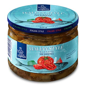 Zigmas Italian Style Marinated Herring Fillet with Sun-Dried Tomatoes & Spices