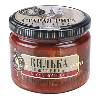 Old Riga Fried Sprats in Tomato Sauce 280g Glass Jar