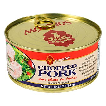 Sokolow Chopped Pork with Pork Skins in Juices Easy Opener 300g