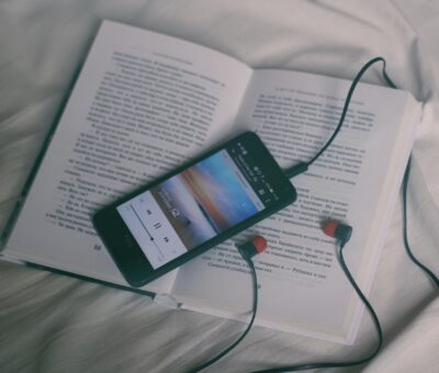 smart phone on book
