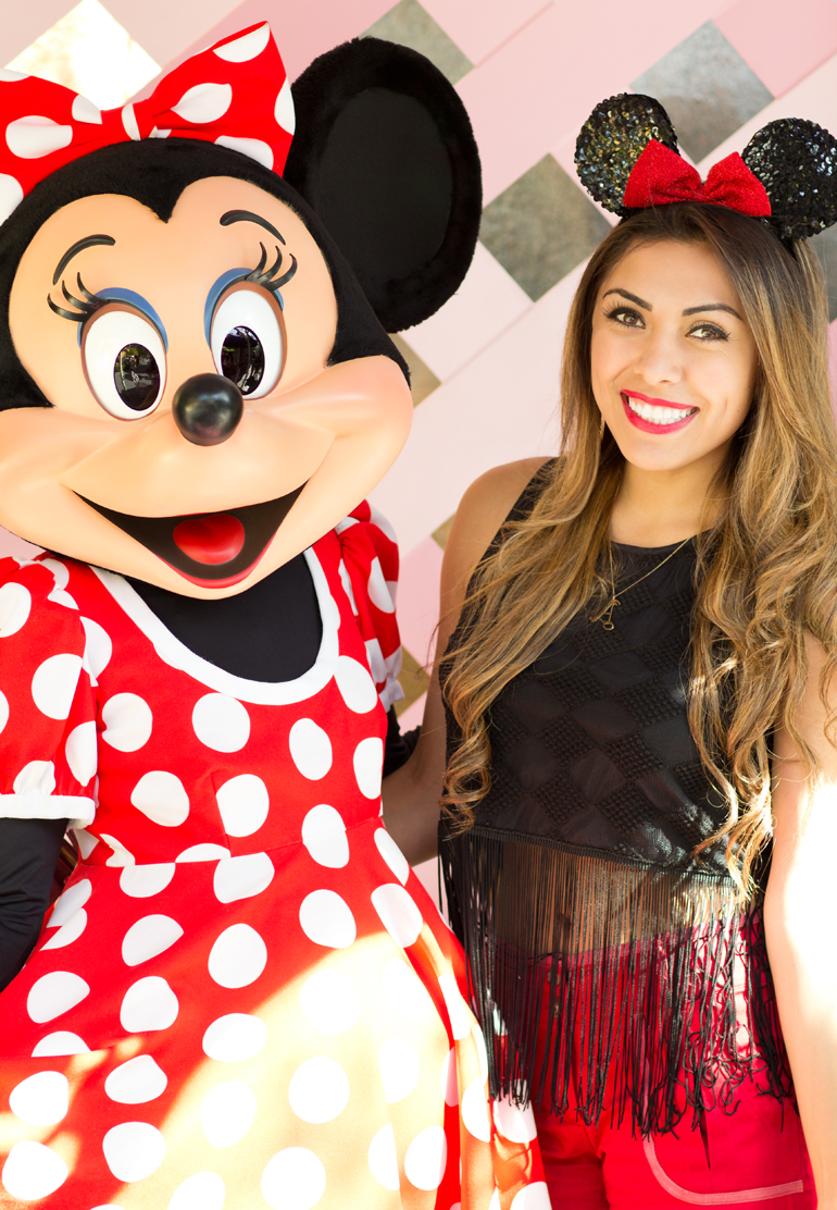 Alexis Alcala Posing with Minnie Mouse in Her House at Toontown in Disneyland