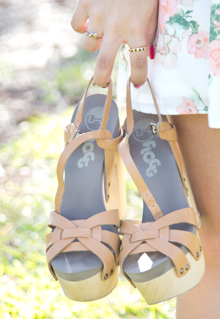 A Closeup Photo of Alexis Alcala as She Carries Her Flogg Rainbow Luggage Heels After a Photoshoot at Yorba Regional Park for Her Blog