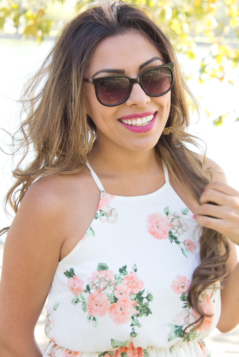 Alexis Alcala Poses for a Portrait in Her Fashionable, Feminine Floral Summer Dress at Yorba Regional Park